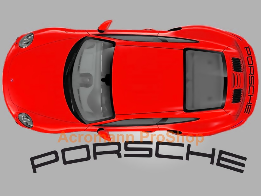 Porsche 991 turbo Rear Wing Decal - Curved